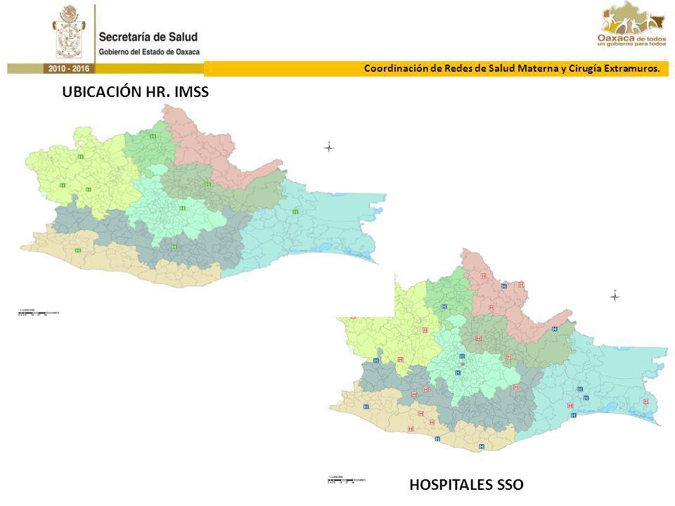 DIRECCIÓN DE ATENCIÓN MÉDICACoordinación de Redes de Salud Materna y Cirugía Extramuros. UBICACIÓN HR. IMSS HOSPITALES SSO