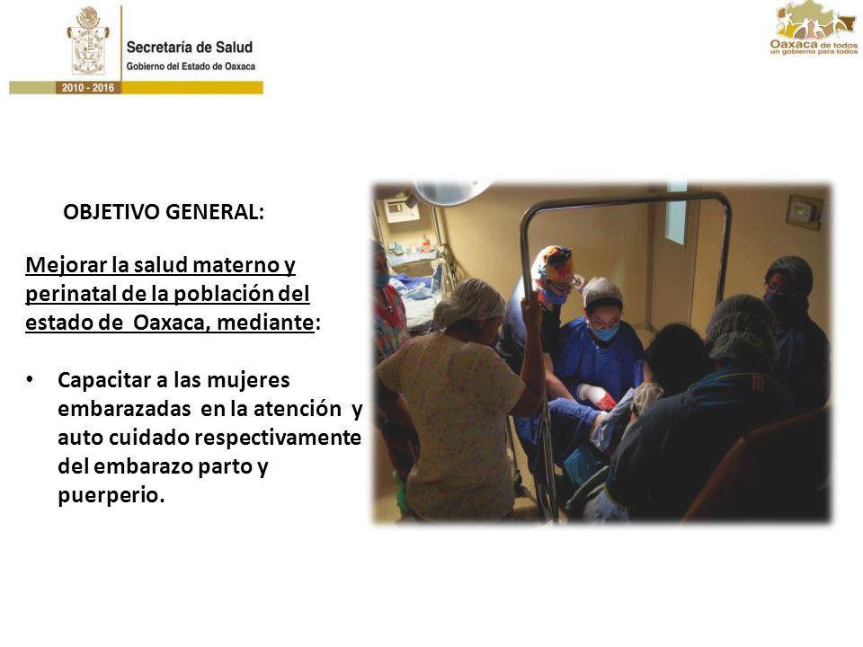 Mejorar la salud materno y perinatal de la población del estado de Oaxaca, mediante: Capacitar a las mujeres embarazadas en la atención y auto cuidado
