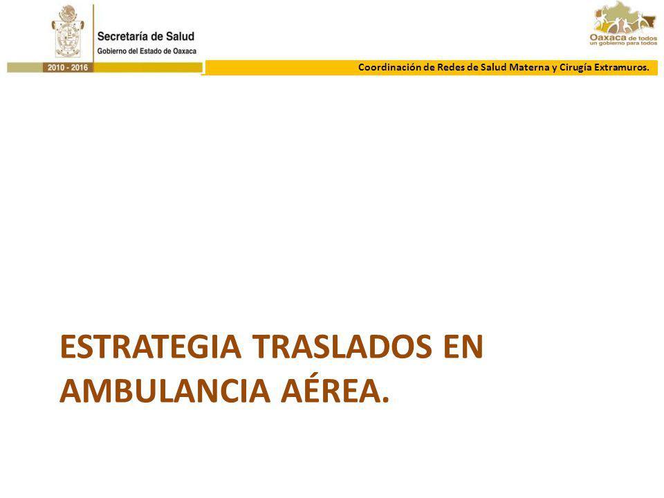 ESTRATEGIA TRASLADOS EN AMBULANCIA AÉREA. Coordinación de Redes de Salud Materna y Cirugía Extramuros.
