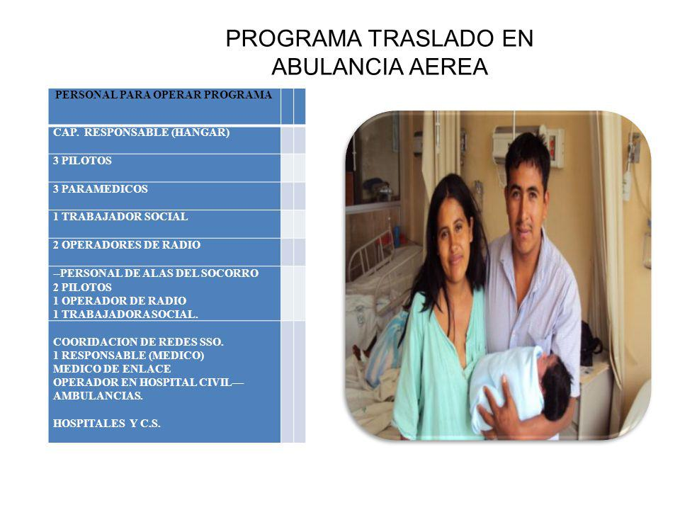 PROGRAMA TRASLADO EN ABULANCIA AEREA PERSONAL PARA OPERAR PROGRAMA CAP. RESPONSABLE (HANGAR) 3 PILOTOS 3 PARAMEDICOS 1 TRABAJADOR SOCIAL 2 OPERADORES