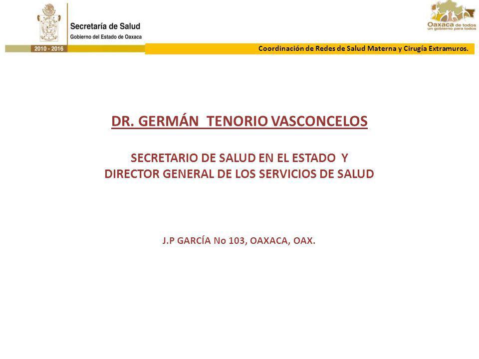 COORDINACIÓN DE REDES DE SM Y CIRG EXTRAMUROS. DR. GERMÁN TENORIO VASCONCELOS SECRETARIO DE SALUD EN EL ESTADO Y DIRECTOR GENERAL DE LOS SERVICIOS DE