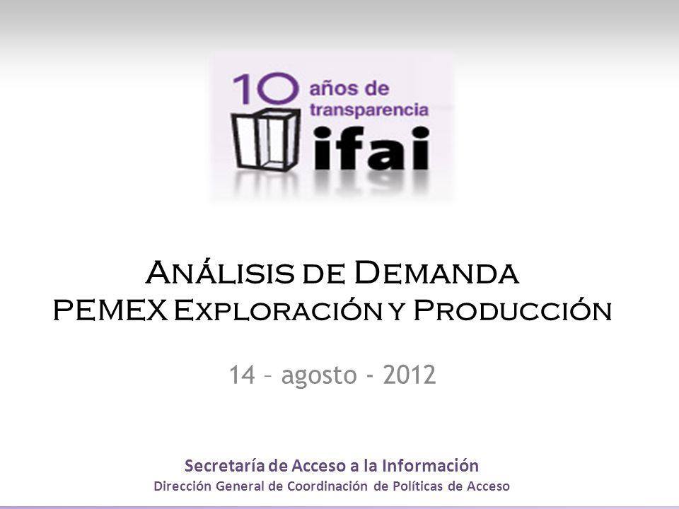 Secretaría de Acceso a la Información Dirección General de Coordinación de Políticas de Acceso Análisis de Demanda PEMEX Exploración y Producción 14 – agosto - 2012
