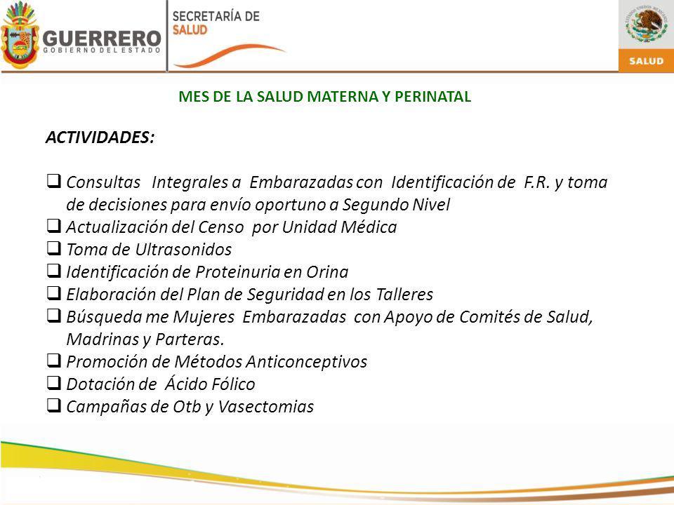 MES DE LA SALUD MATERNA Y PERINATAL ACTIVIDADES: Consultas Integrales a Embarazadas con Identificación de F.R.