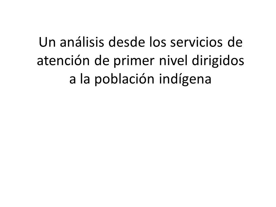 Un análisis desde los servicios de atención de primer nivel dirigidos a la población indígena