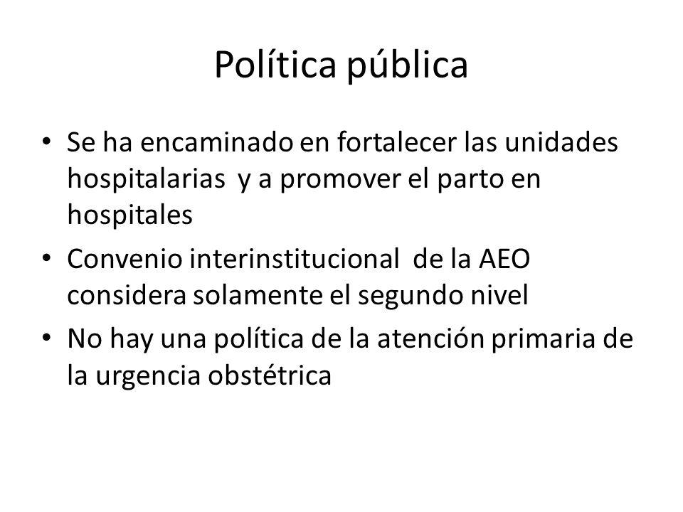 Política pública Se ha encaminado en fortalecer las unidades hospitalarias y a promover el parto en hospitales Convenio interinstitucional de la AEO considera solamente el segundo nivel No hay una política de la atención primaria de la urgencia obstétrica