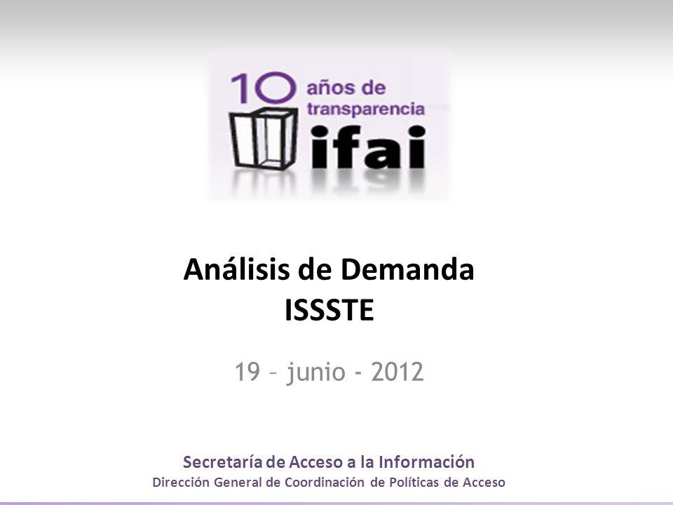 Secretaría de Acceso a la Información Dirección General de Coordinación de Políticas de Acceso Análisis de Demanda ISSSTE 19 – junio - 2012