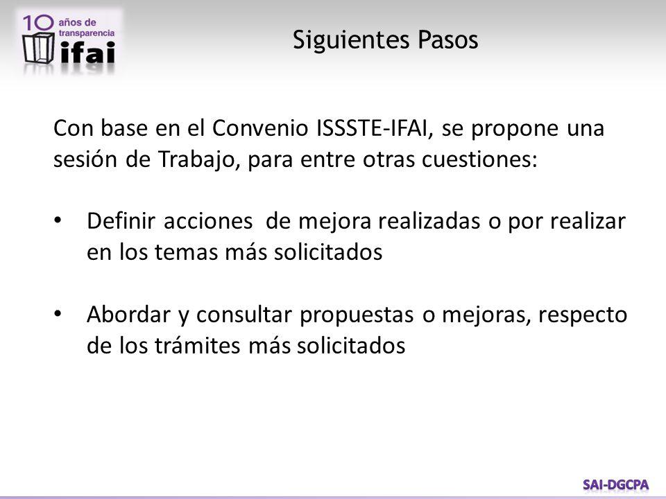 Siguientes Pasos Con base en el Convenio ISSSTE-IFAI, se propone una sesión de Trabajo, para entre otras cuestiones: Definir acciones de mejora realiz