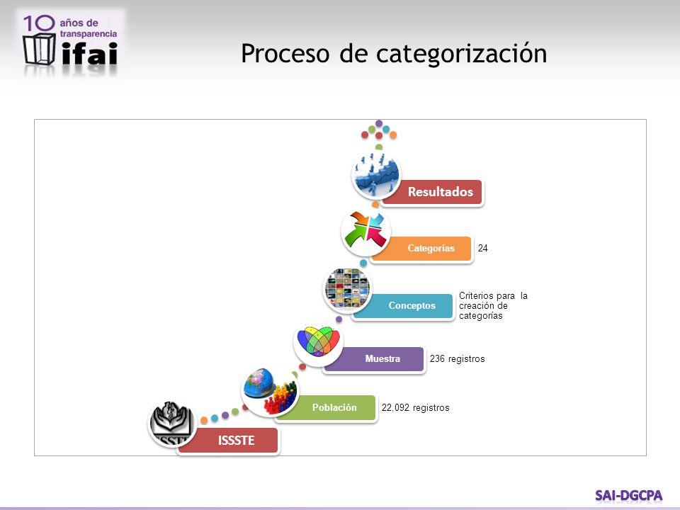 Proceso de categorización ISSSTE Población 22,092 registros Muestra 236 registros Conceptos Criterios para la creación de categorías Categorías 24 Res