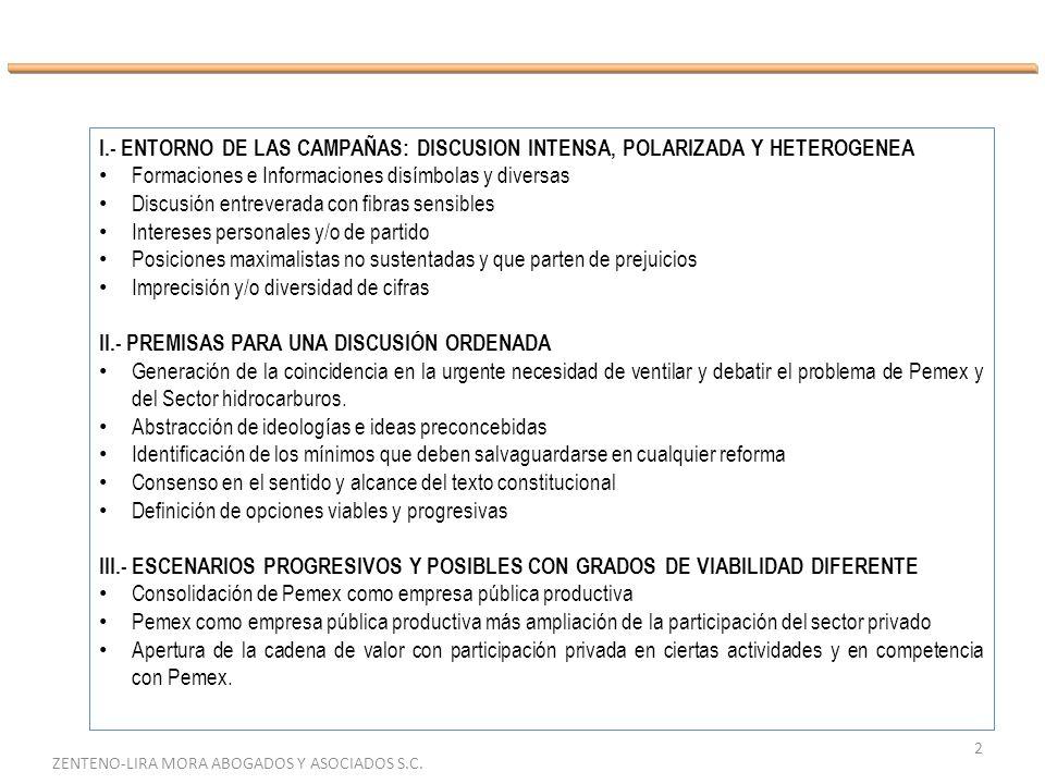 2 ZENTENO-LIRA MORA ABOGADOS Y ASOCIADOS S.C. I.- ENTORNO DE LAS CAMPAÑAS: DISCUSION INTENSA, POLARIZADA Y HETEROGENEA Formaciones e Informaciones dis
