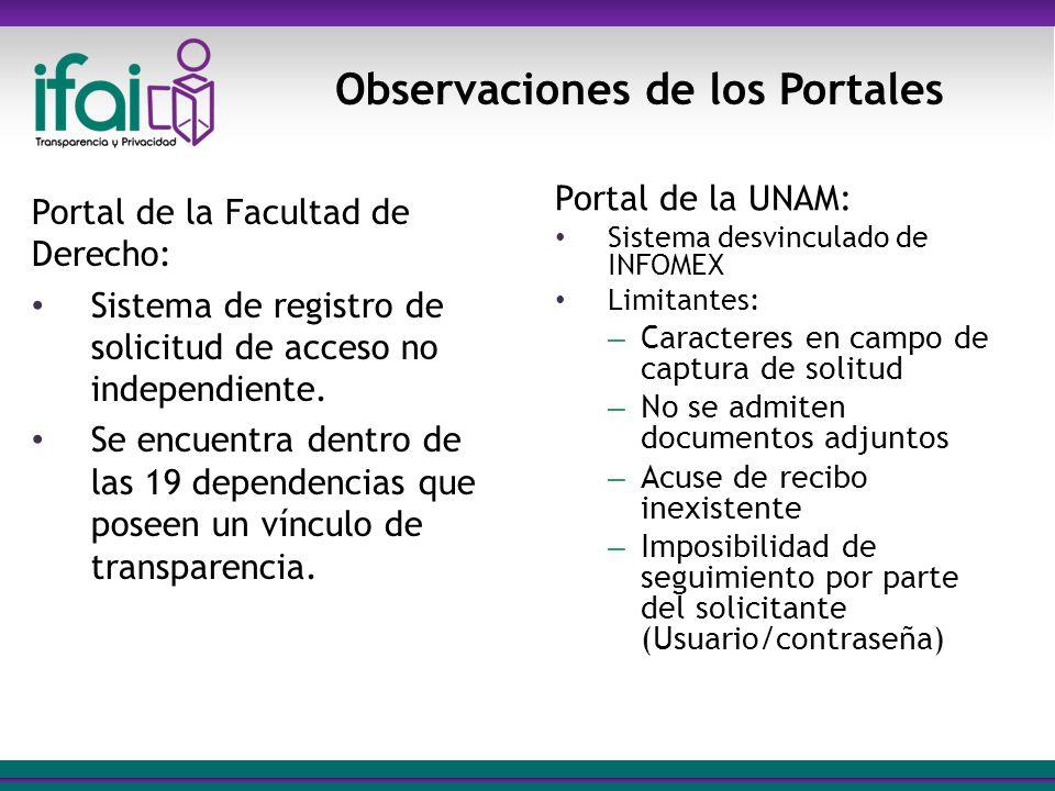 SAI-DGCPA Portal de la Facultad de Derecho: Sistema de registro de solicitud de acceso no independiente. Se encuentra dentro de las 19 dependencias qu