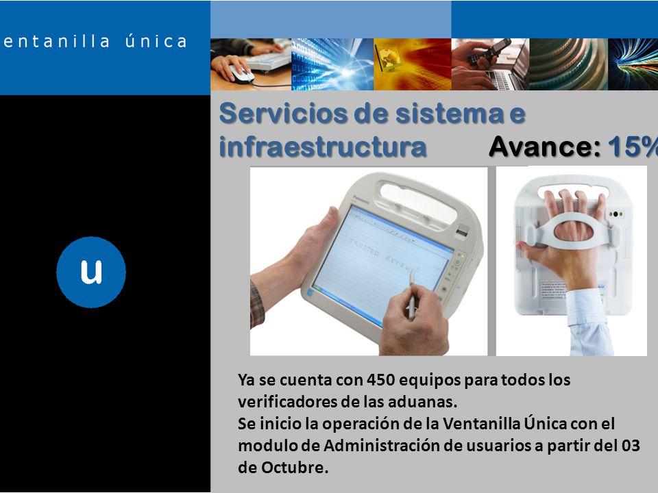 Servicios de sistema e infraestructura Avance: 15% Ya se cuenta con 450 equipos para todos los verificadores de las aduanas.