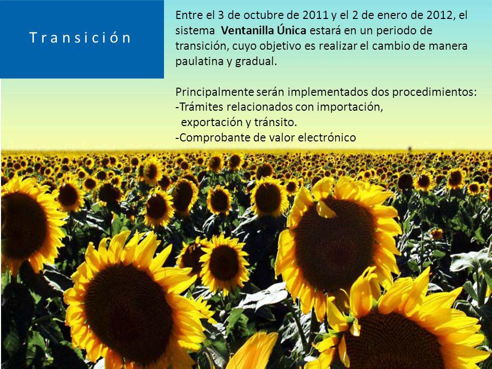 Entre el 3 de octubre de 2011 y el 2 de enero de 2012, el sistema Ventanilla Única estará en un periodo de transición, cuyo objetivo es realizar el cambio de manera paulatina y gradual.