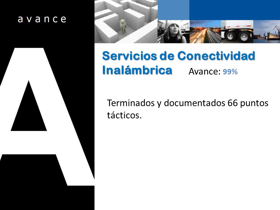 Servicios de Conectividad Inalámbrica Avance: 99% Terminados y documentados 66 puntos tácticos.