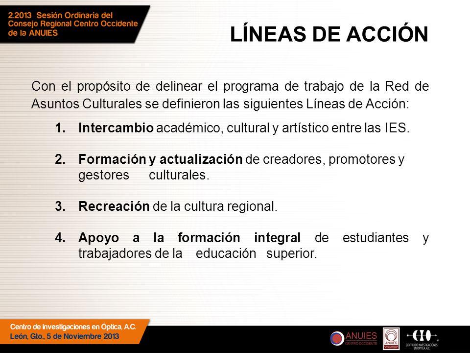 Con el propósito de delinear el programa de trabajo de la Red de Asuntos Culturales se definieron las siguientes Líneas de Acción: 1.Intercambio académico, cultural y artístico entre las IES.