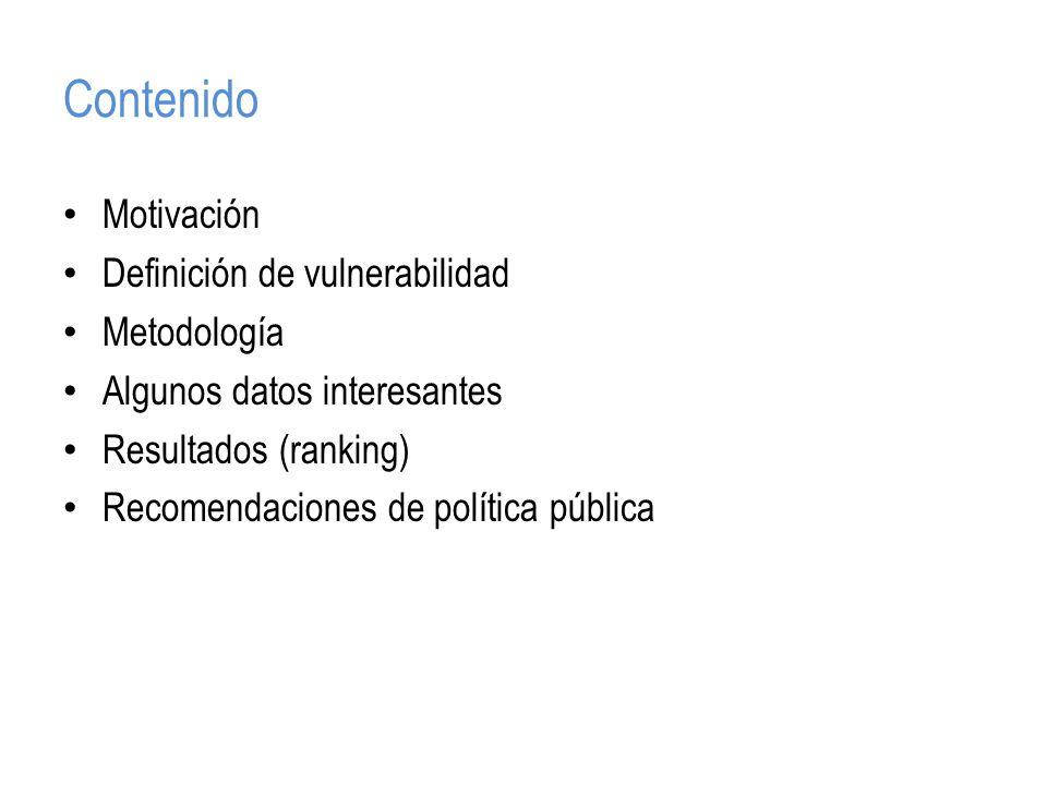 Contenido Motivación Definición de vulnerabilidad Metodología Algunos datos interesantes Resultados (ranking) Recomendaciones de política pública
