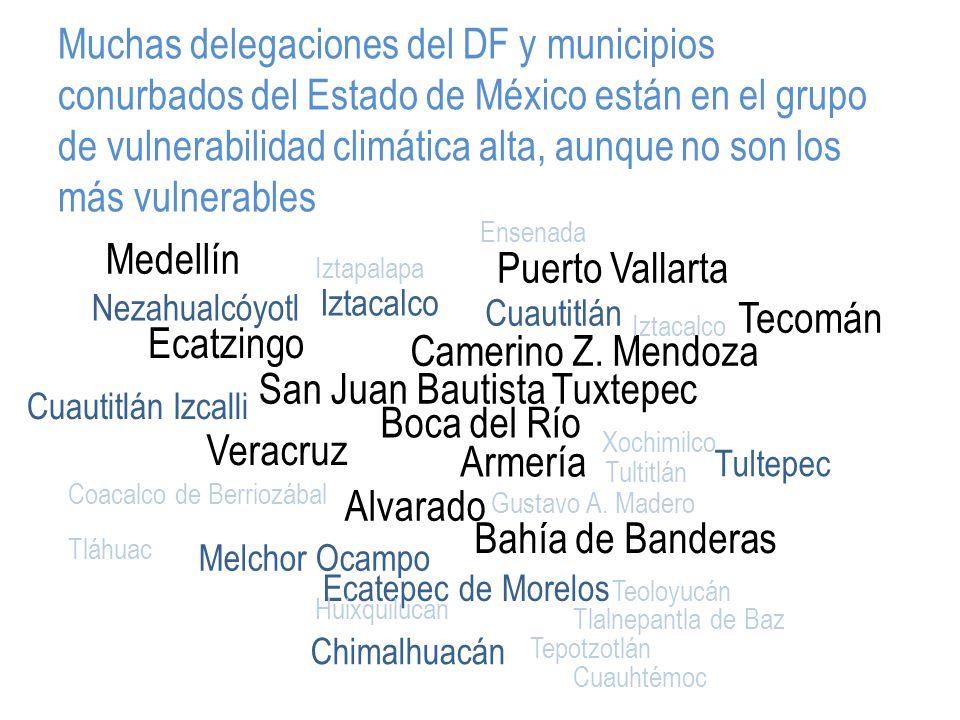 Muchas delegaciones del DF y municipios conurbados del Estado de México están en el grupo de vulnerabilidad climática alta, aunque no son los más vulnerables Medellín Ecatzingo Veracruz San Juan Bautista Tuxtepec Bahía de Banderas Camerino Z.