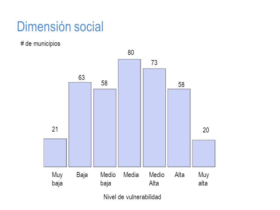 Dimensión social Muy baja BajaMedio baja MediaMedio Alta AltaMuy alta # de municipios Nivel de vulnerabilidad 21 63 58 80 58 20 73