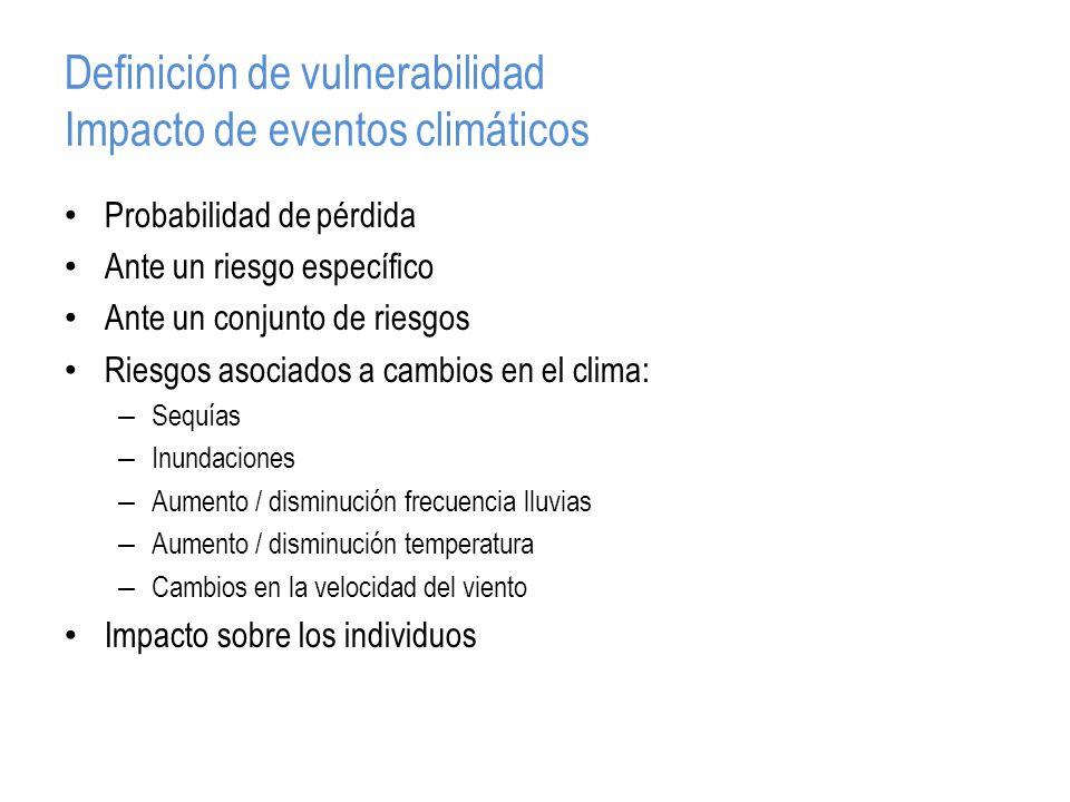 Definición de vulnerabilidad Impacto de eventos climáticos Probabilidad de pérdida Ante un riesgo específico Ante un conjunto de riesgos Riesgos asociados a cambios en el clima: – Sequías – Inundaciones – Aumento / disminución frecuencia lluvias – Aumento / disminución temperatura – Cambios en la velocidad del viento Impacto sobre los individuos