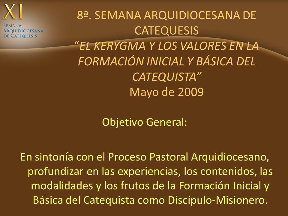 8ª. SEMANA ARQUIDIOCESANA DE CATEQUESISEL KERYGMA Y LOS VALORES EN LA FORMACIÓN INICIAL Y BÁSICA DEL CATEQUISTA Mayo de 2009 Objetivo General: En sint