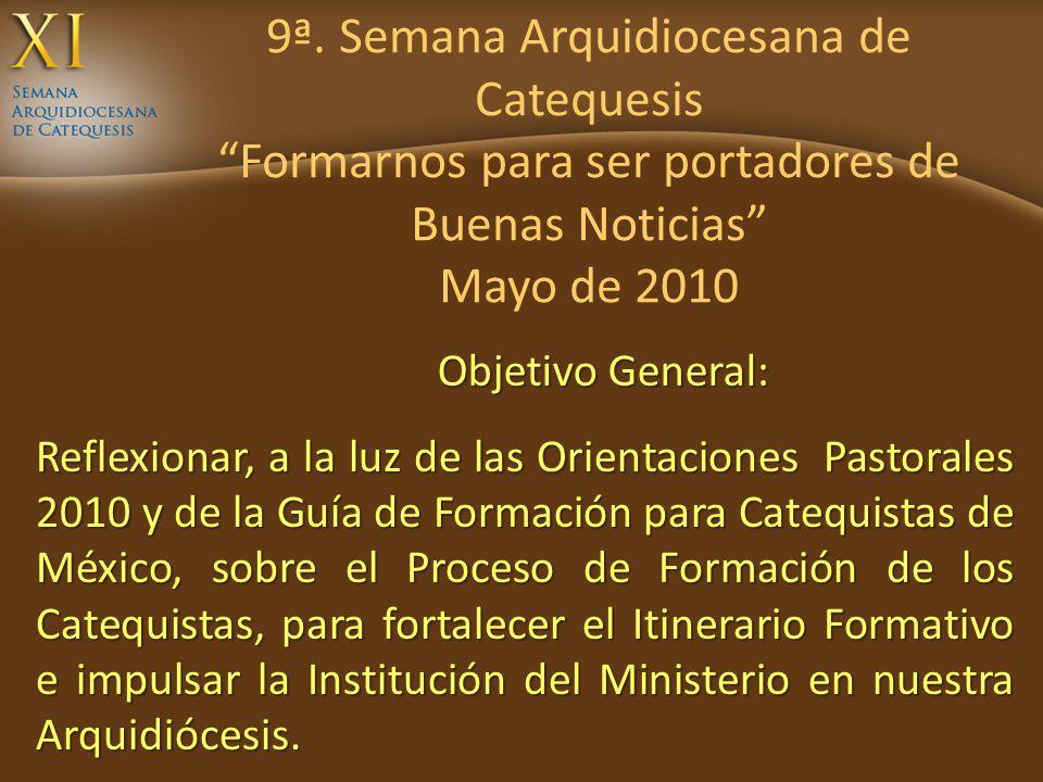 9ª. Semana Arquidiocesana de Catequesis Formarnos para ser portadores de Buenas Noticias Mayo de 2010 Reflexionar, a la luz de las Orientaciones Pasto