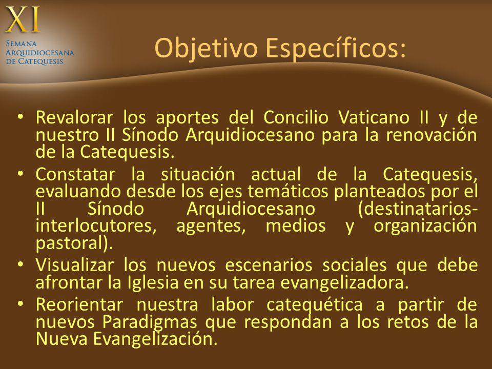 Objetivo Específicos: Revalorar los aportes del Concilio Vaticano II y de nuestro II Sínodo Arquidiocesano para la renovación de la Catequesis. Consta