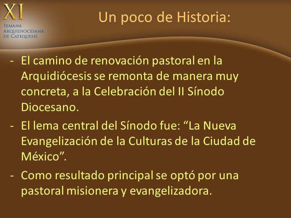 Un poco de Historia: -El camino de renovación pastoral en la Arquidiócesis se remonta de manera muy concreta, a la Celebración del II Sínodo Diocesano