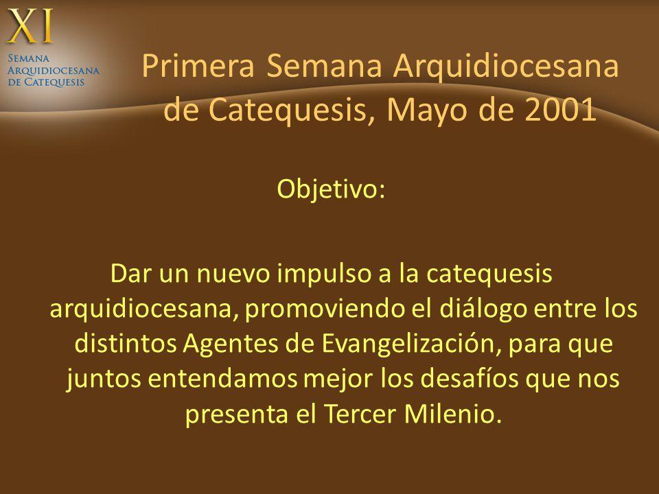 Primera Semana Arquidiocesana de Catequesis, Mayo de 2001 Objetivo: Dar un nuevo impulso a la catequesis arquidiocesana, promoviendo el diálogo entre