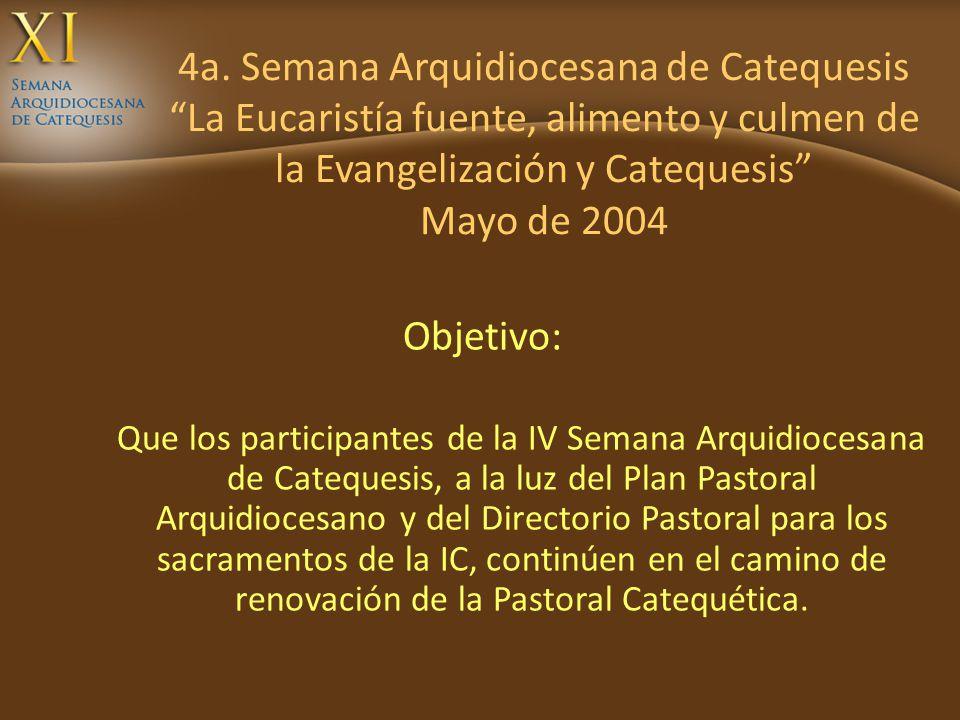 4a. Semana Arquidiocesana de Catequesis La Eucaristía fuente, alimento y culmen de la Evangelización y Catequesis Mayo de 2004 Objetivo: Que los parti