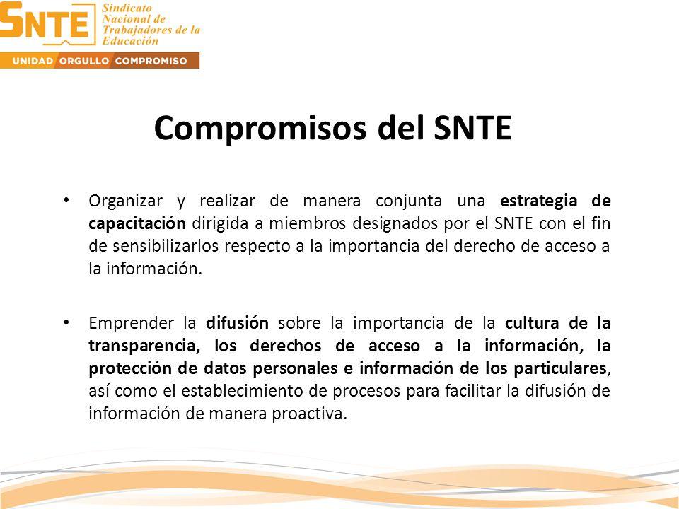 Organizar y realizar de manera conjunta una estrategia de capacitación dirigida a miembros designados por el SNTE con el fin de sensibilizarlos respecto a la importancia del derecho de acceso a la información.
