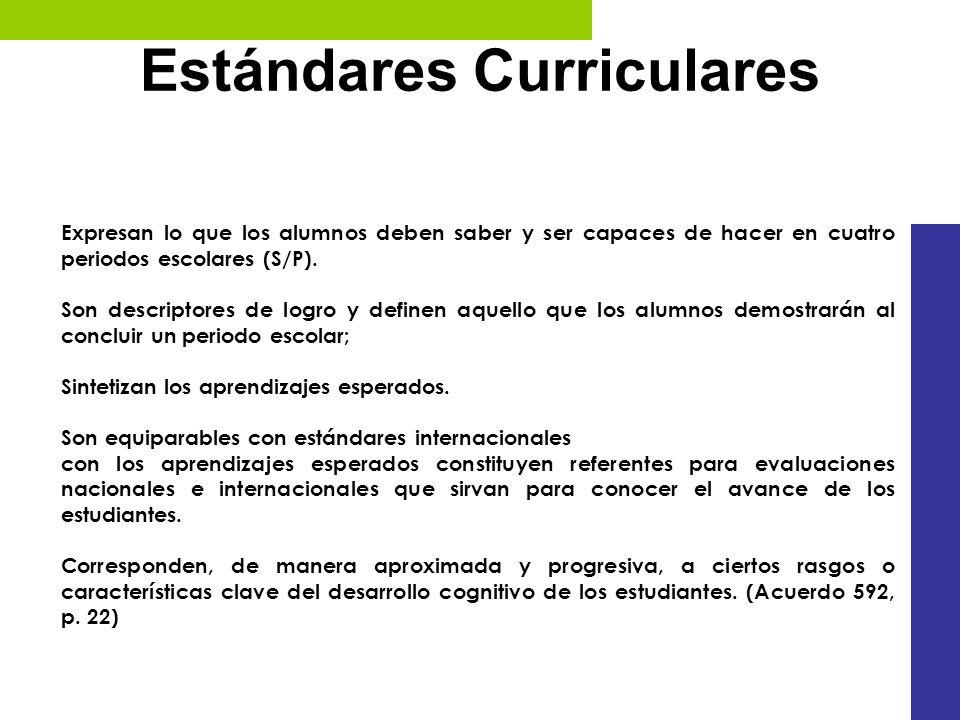 Estándares Curriculares Expresan lo que los alumnos deben saber y ser capaces de hacer en cuatro periodos escolares (S/P). Son descriptores de logro y