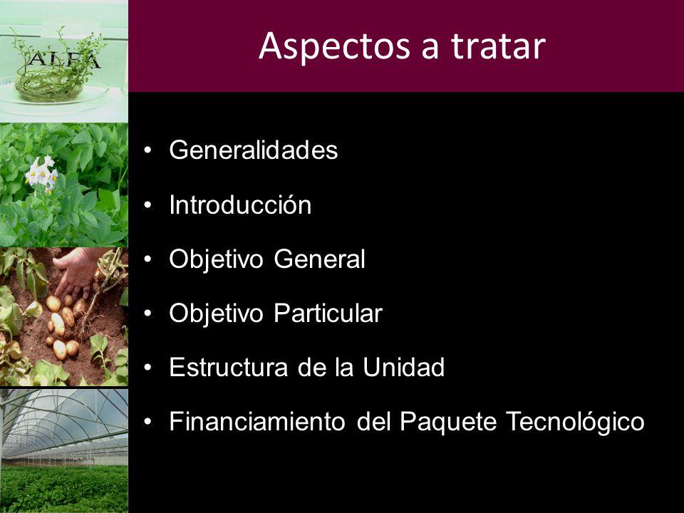 Aspectos a tratar Generalidades Introducción Objetivo General Objetivo Particular Estructura de la Unidad Financiamiento del Paquete Tecnológico