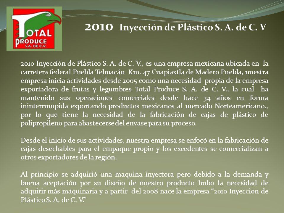 2010 Inyección de Plástico S. A. de C. V., es una empresa mexicana ubicada en la carretera federal Puebla Tehuacán Km. 47 Cuapiaxtla de Madero Puebla,