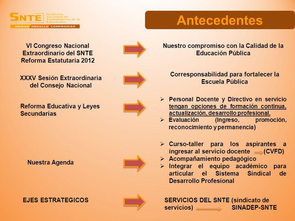 VI Congreso Nacional Extraordinario del SNTE Reforma Estatutaria 2012 XXXV Sesión Extraordinaria del Consejo Nacional Nuestro compromiso con la Calida