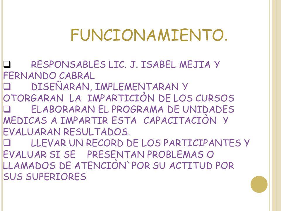FUNCIONAMIENTO. RESPONSABLES LIC. J. ISABEL MEJIA Y FERNANDO CABRAL DISEÑARAN, IMPLEMENTARAN Y OTORGARAN LA IMPARTICIÒN DE LOS CURSOS ELABORARAN EL PR