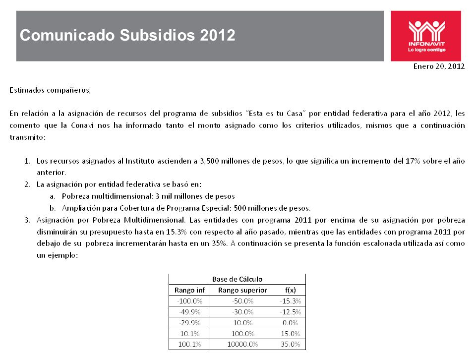 Comunicado Subsidios 2012