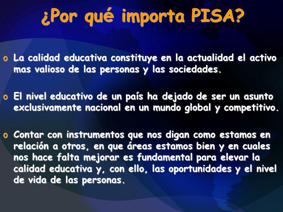 ¿ Por qu é importa PISA? oLa calidad educativa constituye en la actualidad el activo mas valioso de las personas y las sociedades. oEl nivel educativo