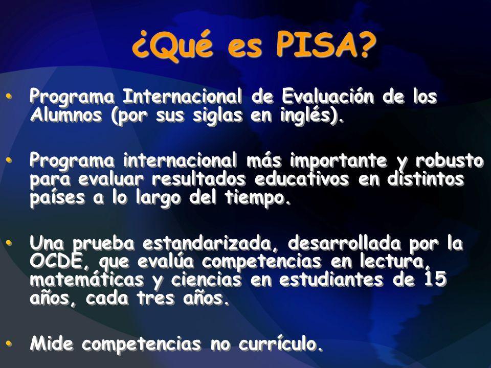¿Qué es PISA? Programa Internacional de Evaluación de los Alumnos (por sus siglas en inglés). Programa internacional más importante y robusto para eva