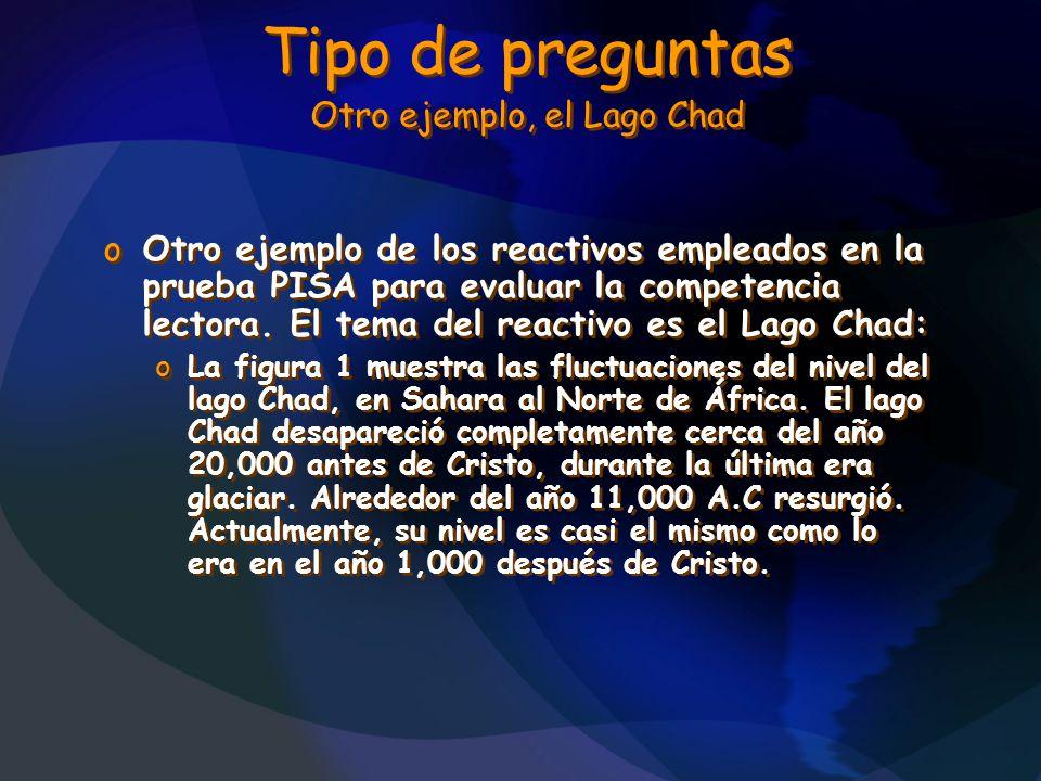 Tipo de preguntas Otro ejemplo, el Lago Chad oOtro ejemplo de los reactivos empleados en la prueba PISA para evaluar la competencia lectora. El tema d