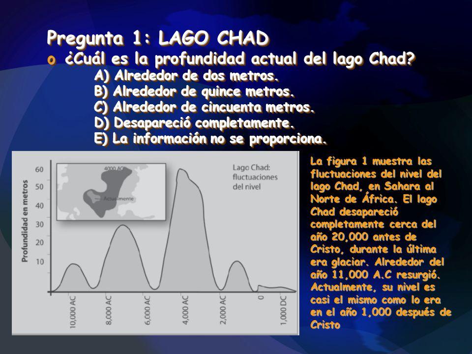 Pregunta 1: LAGO CHAD o¿Cuál es la profundidad actual del lago Chad? A) Alrededor de dos metros. B) Alrededor de quince metros. C) Alrededor de cincue