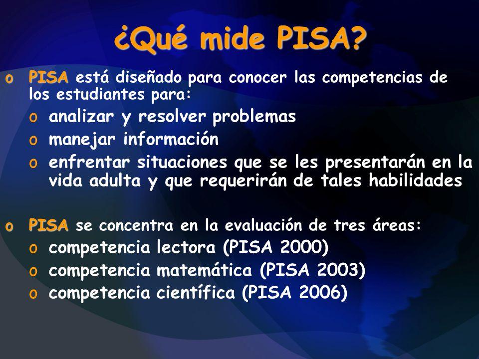 ¿Qué mide PISA? oPISA oPISA está diseñado para conocer las competencias de los estudiantes para: oanalizar y resolver problemas omanejar información o