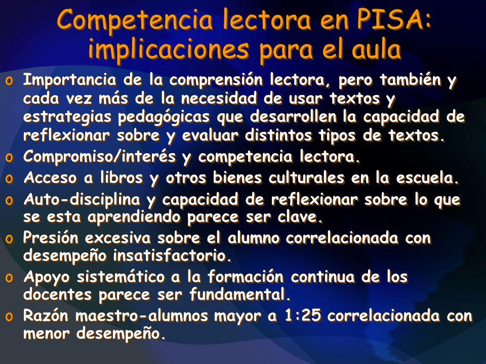 Competencia lectora en PISA: implicaciones para el aula oImportancia de la comprensión lectora, pero también y cada vez más de la necesidad de usar te