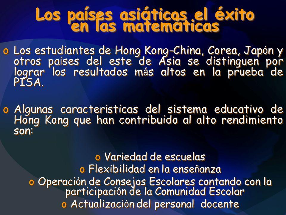 Los pa í ses asi á ticos el é xito en las matem á ticas oLos estudiantes de Hong Kong-China, Corea, Jap ó n y otros pa í ses del este de Asia se disti
