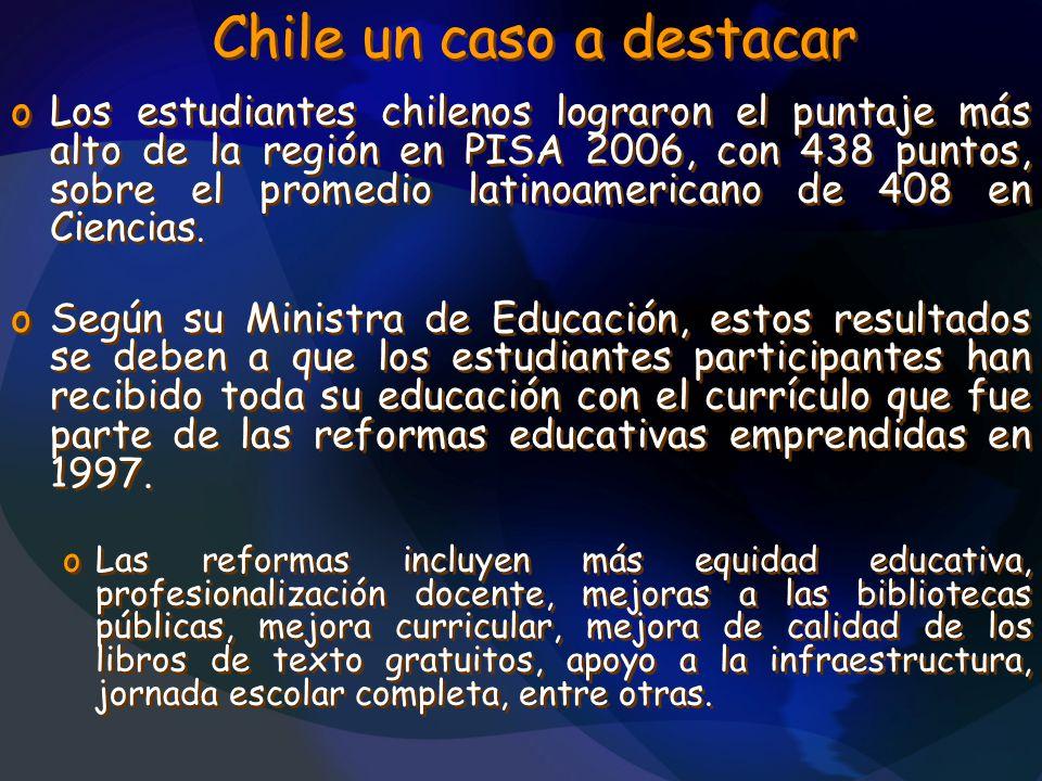 Chile un caso a destacar oLos estudiantes chilenos lograron el puntaje más alto de la región en PISA 2006, con 438 puntos, sobre el promedio latinoame