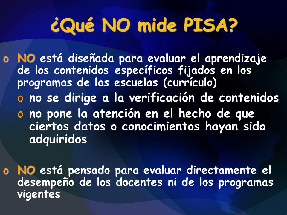 ¿Qué NO mide PISA? oNO oNO está diseñada para evaluar el aprendizaje de los contenidos específicos fijados en los programas de las escuelas (currículo