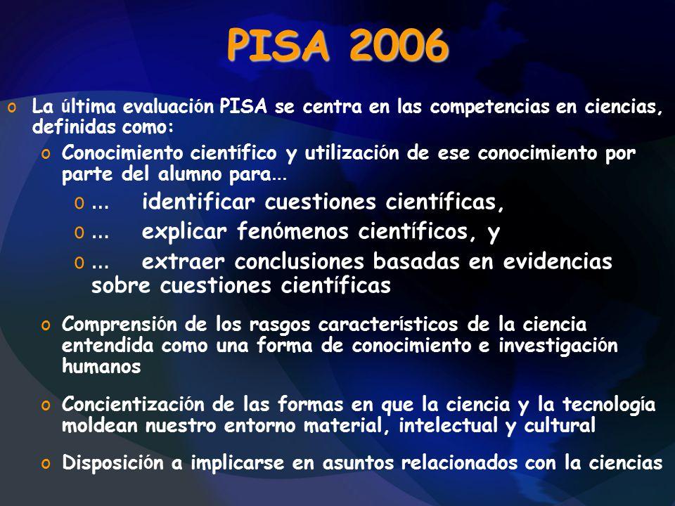 PISA 2006 oLa ú ltima evaluaci ó n PISA se centra en las competencias en ciencias, definidas como: oConocimiento cient í fico y utilizaci ó n de ese c
