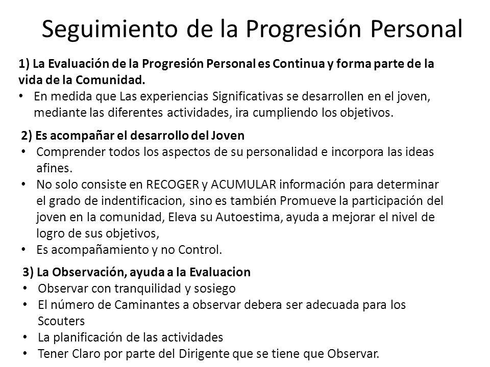 Seguimiento de la Progresión Personal 1) La Evaluación de la Progresión Personal es Continua y forma parte de la vida de la Comunidad. En medida que L