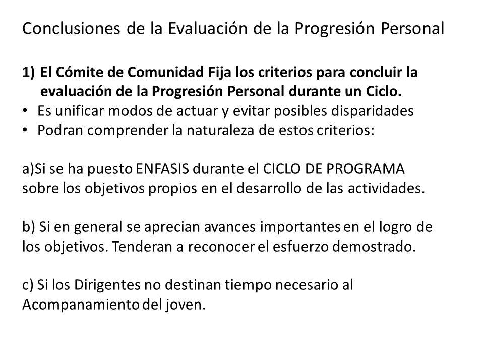 Conclusiones de la Evaluación de la Progresión Personal 1)El Cómite de Comunidad Fija los criterios para concluir la evaluación de la Progresión Perso