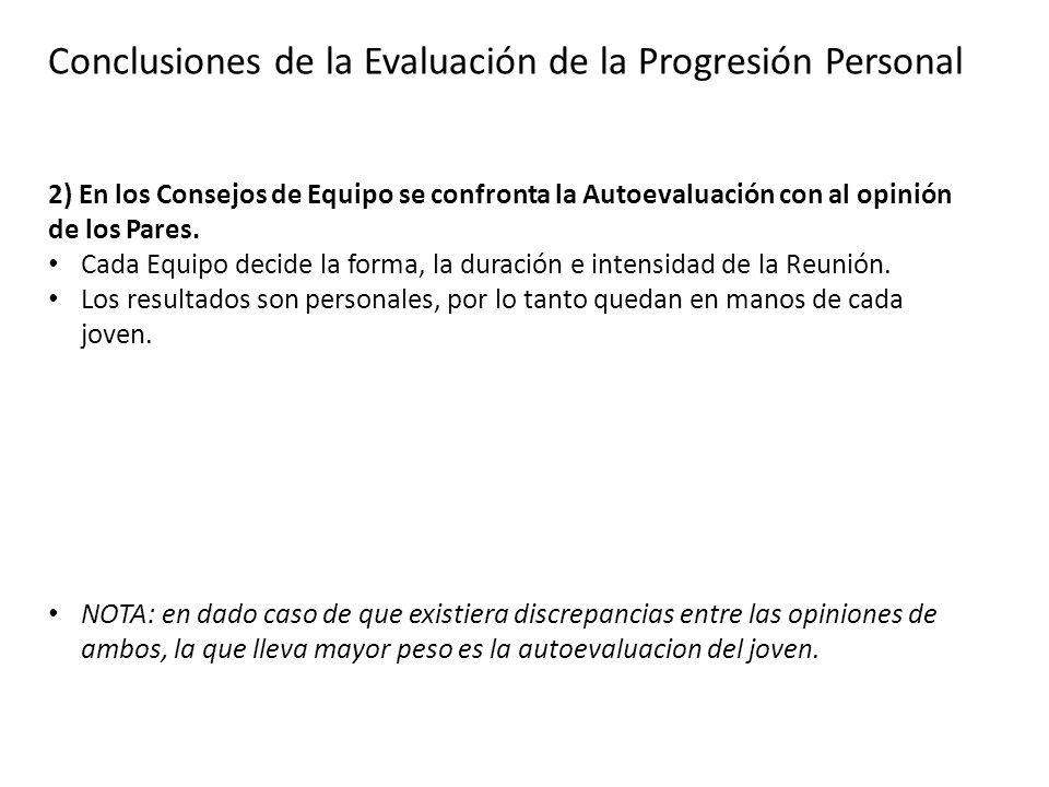 Conclusiones de la Evaluación de la Progresión Personal 2) En los Consejos de Equipo se confronta la Autoevaluación con al opinión de los Pares. Cada