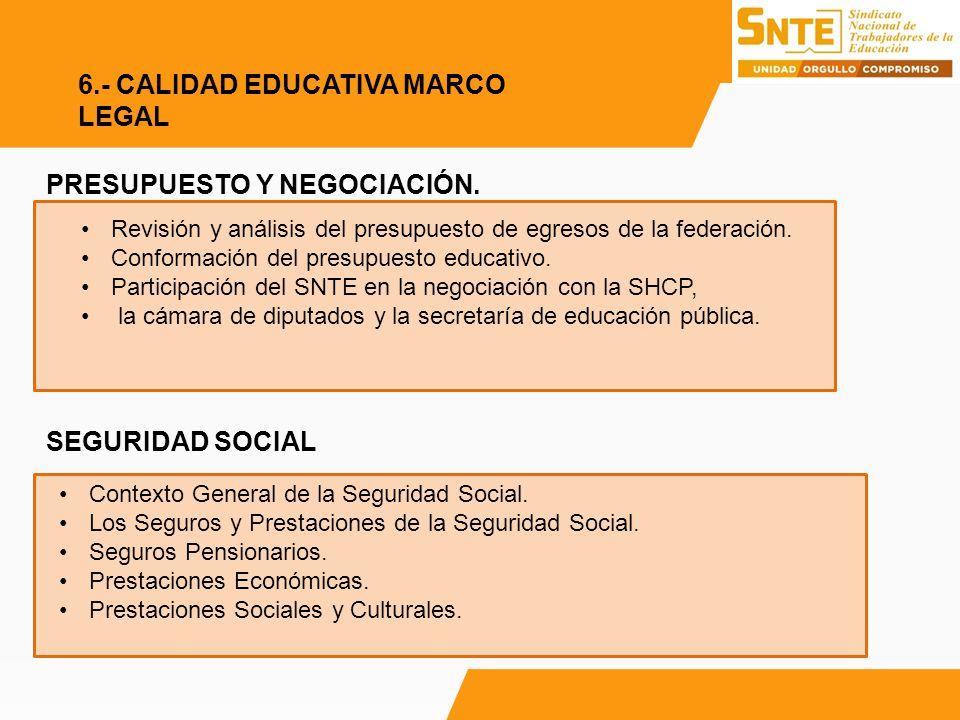 PRESUPUESTO Y NEGOCIACIÓN. SEGURIDAD SOCIAL Revisión y análisis del presupuesto de egresos de la federación. Conformación del presupuesto educativo. P