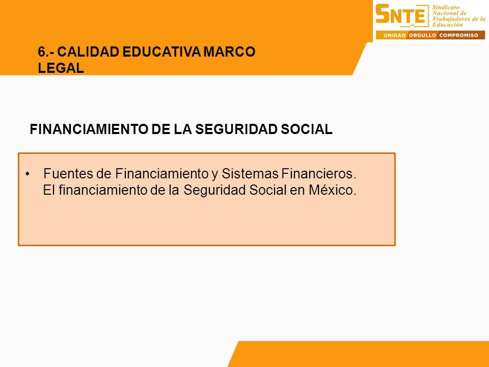 FINANCIAMIENTO DE LA SEGURIDAD SOCIAL Fuentes de Financiamiento y Sistemas Financieros. El financiamiento de la Seguridad Social en México. 6.- CALIDA
